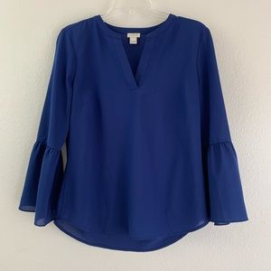 J. Crew Factory Navy Blue Bell Sleeve Blouse